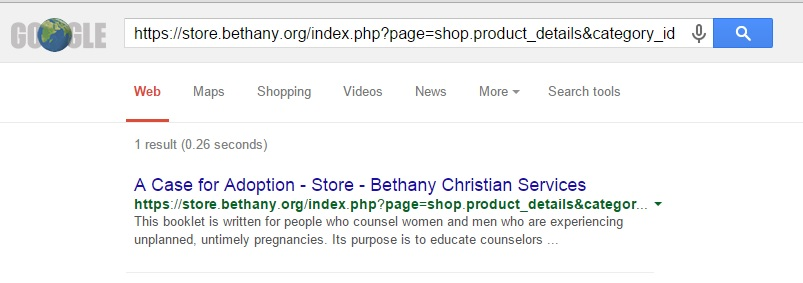 "Search results for the Bethany Store selling ""A Case For Adoption."" The link is no longer functioning."